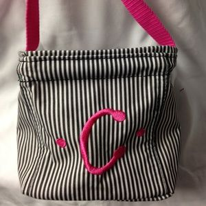 """Thirty-One Mini Tote with Hot Pink """"C"""" embroidered"""